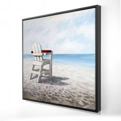 Framed 24 x 24 - 3D - White beach chair