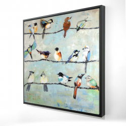 Framed 24 x 24 - 3D - Small colorful birds
