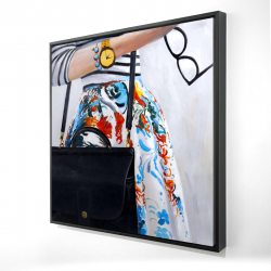 Framed 24 x 24 - 3D - Fashionable woman with glasses