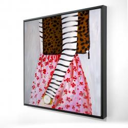 Encadré 24 x 24 - 3D - Femme à la mode avec un sac léopard