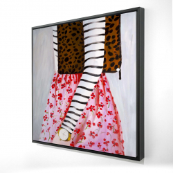 Framed 24 x 24 - 3D - Fashionable woman with a leopard bag