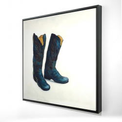 Framed 24 x 24 - 3D - Leather cowboy boots