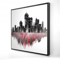 Framed 24 x 24 - 3D - Red watercolor cityscape
