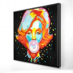 Framed 24 x 24 - 3D - Colorful maryline monroe bubblegum