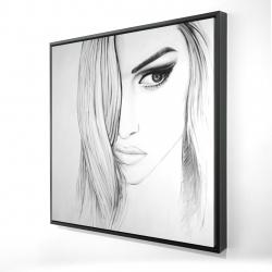 Framed 24 x 24 - 3D - Black & white portrait