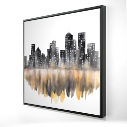 Framed 24 x 24 - 3D - Yellow watercolor cityscape