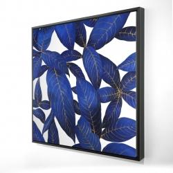 Framed 24 x 24 - 3D - Abstract modern blue leaves