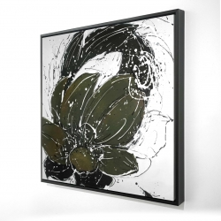 Framed 24 x 24 - 3D - Abstract flower with paint splash
