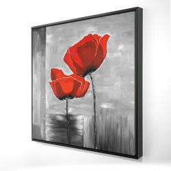 Framed 24 x 24 - 3D - Two red flowers on a grayscale background