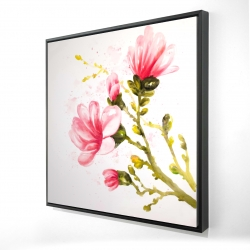 Framed 24 x 24 - 3D - Watercolor magnolia flowers