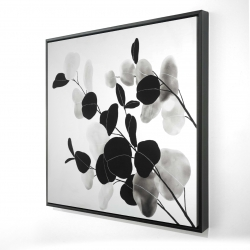 Framed 24 x 24 - 3D - Grayscale branches with leaves