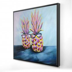 Framed 24 x 24 - 3D - Funny pineapples with sunglasses