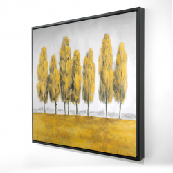 Framed 24 x 24 - 3D - Abstract yellow trees