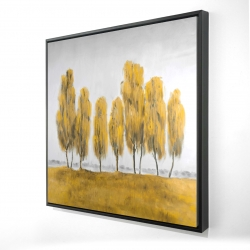 Framed 24 x 24 - 3D - Seven abstract yellow trees
