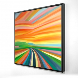 Framed 24 x 24 - 3D - Colorful road