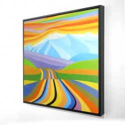 Framed 24 x 24 - 3D - Mountain road multicolored