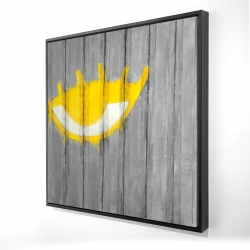 Framed 24 x 24 - 3D - Yellow eye graffiti on a container