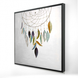 Framed 24 x 24 - 3D - Dreamcatcher with feathers