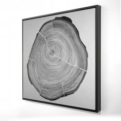 Framed 24 x 24 - 3D - Grayscale wood log