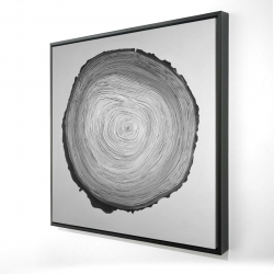 Framed 24 x 24 - 3D - Grayscale round wood log