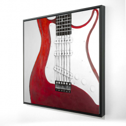 Framed 24 x 24 - 3D - Red electric guitar