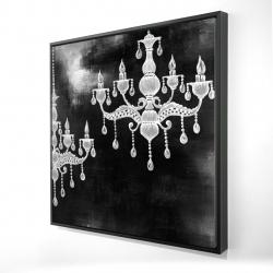 Framed 24 x 24 - 3D - White chandeliers