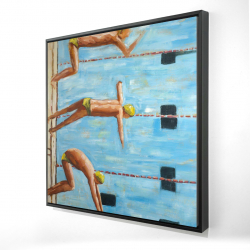 Framed 24 x 24 - 3D - Swimmers