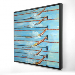 Framed 24 x 24 - 3D - Olympic swimmers