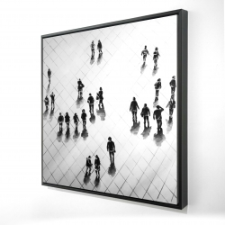 Framed 24 x 24 - 3D - Overhead view of people on the street
