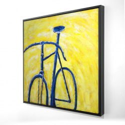 Framed 24 x 24 - 3D - Blue bike on yellow background