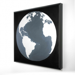 Framed 24 x 24 - 3D - Earth satellite view