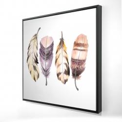 Framed 24 x 24 - 3D - Purple feather set