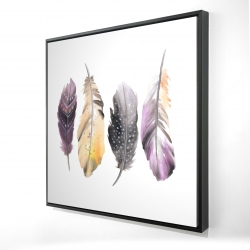 Framed 24 x 24 - 3D - Colorful feather set