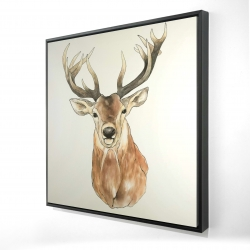 Framed 24 x 24 - 3D - Front deer portrait