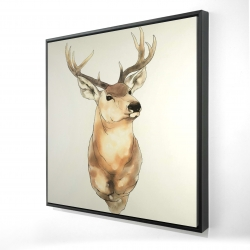 Framed 24 x 24 - 3D - Deer portrait