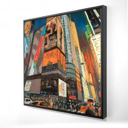 Framed 24 x 24 - 3D - Illuminated new york city street