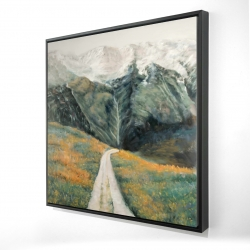 Framed 24 x 24 - 3D - Mountainous landscape