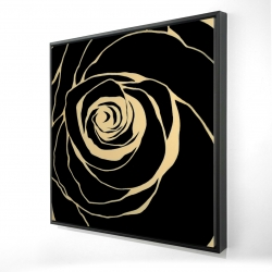 Framed 36 x 36 - 3D - Black rose