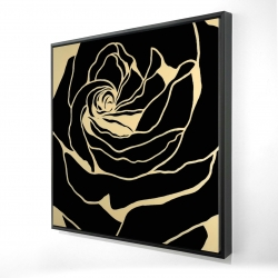 Framed 36 x 36 - 3D - Cutout black rose