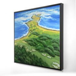Framed 24 x 24 - 3D - Island overhead view with waves