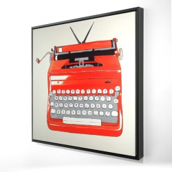 Framed 24 x 24 - 3D - Red typewritter machine
