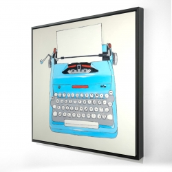 Framed 24 x 24 - 3D - Blue typewritter machine
