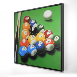 Framed 24 x 24 - 3D - Pool table with ball formation