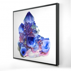 Framed 24 x 24 - 3D - Blue and purple quartz cristal