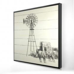 Framed 24 x 24 - 3D - Vintage old texas windmill