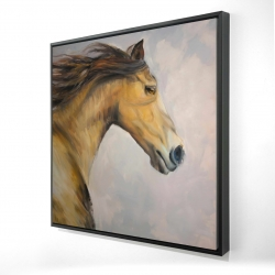 Framed 24 x 24 - 3D - Proud steed with his mane in the wind