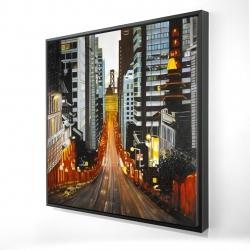 Framed 24 x 24 - 3D - San francisco by night