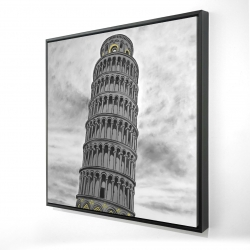 Framed 24 x 24 - 3D - Tower of pisa in italy