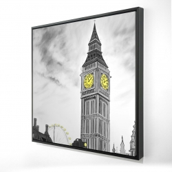 Framed 24 x 24 - 3D - Outline of big ben in london