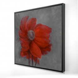 Framed 24 x 24 - 3D - Red flower in the wind